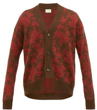 Aries Cut Out Paisley Jacquard Cardigan - Mens - Red
