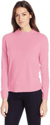 Sag Harbor Women's Long Sleeve Low Mock Neck Ideal Cashmerlon Sweater