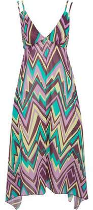 M Missoni Asymmetric Printed Cotton-Poplin Midi Dress