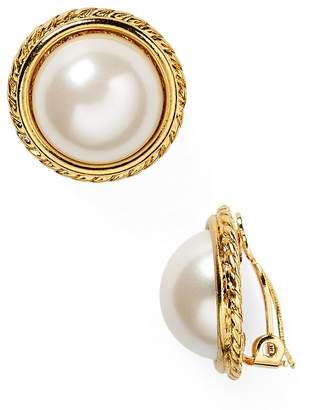 Carolee Rope Imitation-Pearl Clip On Earrings