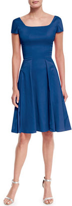 Zac Posen Short-Sleeve Crepe Fit-And-Flare Dress $1,890 thestylecure.com