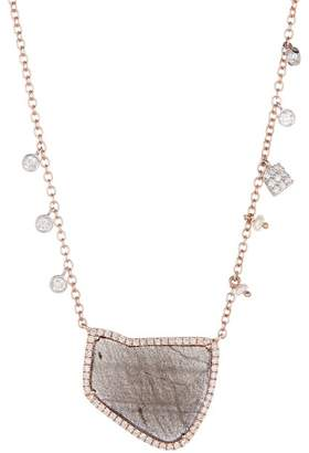Meira T 14K Rose Gold Pink Labradorite Diamond & 3mm Freshwater Pearl Charm Necklace - 0.33 ctw