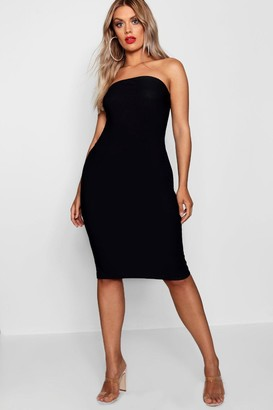 boohoo Plus Bandeau Fitted Midi Dress