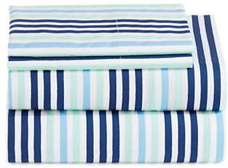 Martha Stewart Whim Brush Stripe 200 Thread-Count Four-Piece Sheet Set