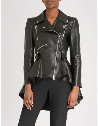 Alexander McQueen Ruffled peplum leather jacket