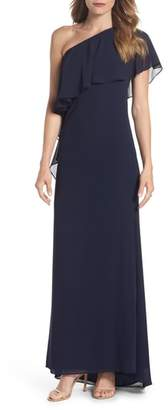Vince Camuto One-Shoulder Chiffon Gown