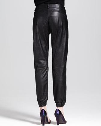 Rag and Bone Leather Cropped Pajama Pants