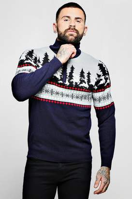 boohoo High Neck Zip Detail Christmas Jumper