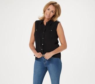Denim & Co. Button Front Sleeveless Shirt with Shirttail Hem
