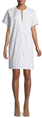 Vince Split-Neck Cotton Poplin Popover Dress