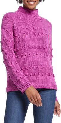 Nic+Zoe Adore A Ball Texture Stripe Turtleneck Sweater