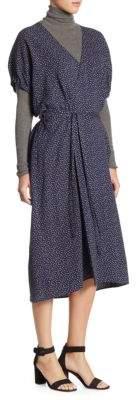Vince Polka Dot Kimono Wrap Dress