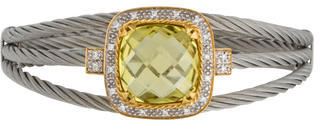 Charriol 18K & Stainless Steel Lemon Quartz & Diamond Celtic Bracelet $695 thestylecure.com