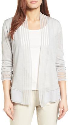 NIC+ZOE Stripe Trim Linen Blend Cardigan $148 thestylecure.com