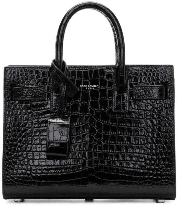 Saint Laurent Black Croc Nano Sac de Jour Tote