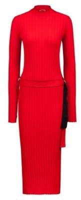 HUGO Boss Knitted tube dress in stretch yarn tape belt XS Red