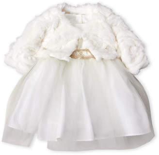 Pippa & Julie (Toddler Girls) Two-Piece Faux Fur Shrug & Metallic Tulle Dress Set