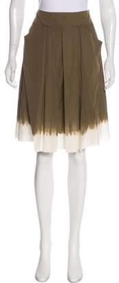 Prada Two-Tone Knee-Length Skirt Olive Two-Tone Knee-Length Skirt