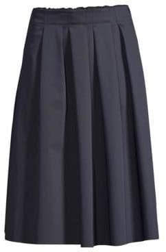 Elie Tahari Faiza Pleated Matte Satin Skirt