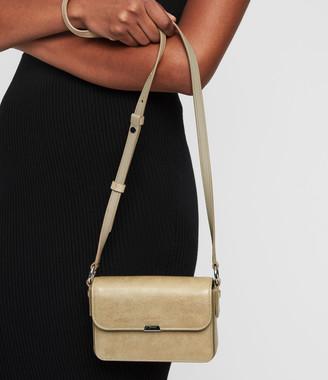 AllSaints Glitz Mini Flap Leather Crossbody Bag