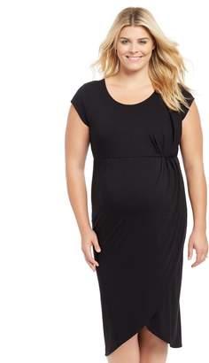 Motherhood Maternity Plus Size Tulip Hem Maternity Dress- Black