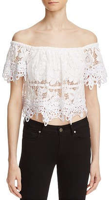 Free People Sweet Dreams Lace Off-The-Shoulder Crop Top $108 thestylecure.com