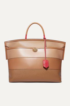 Burberry Smooth And Textured-leather Tote - Brown