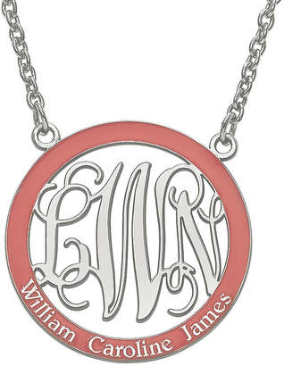 FINE JEWELRY Personalized Sterling Silver Open Enamel Monogram and Name Pendant Necklace