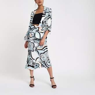 River Island Womens Blue swirl print maxi skirt