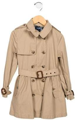 Ralph Lauren Girls' Double-Breasted Trench Coat