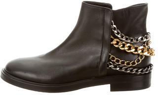 Casadei Leather Chain-Embellished Ankle Boots $225 thestylecure.com