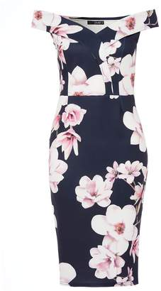Quiz Navy And Pink Floral Print Sweetheart Neckline Dress