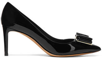 Salvatore Ferragamo Zeri Bow-embellished Patent-leather Pumps - Black