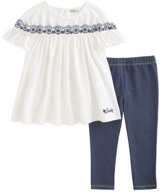 Lucky Brand Two-Piece Embroidered Top and Leggings Set