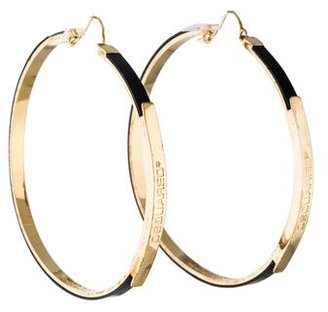 Dsquared2 Leather Hoop Earrings $195 thestylecure.com