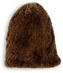 Surell Rabbit Fur Slouch Beanie