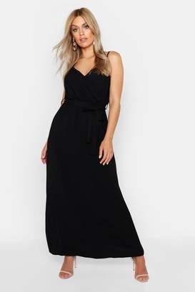 12fb3022e2ee3 boohoo Plus Linen Look Wrap Front Maxi Dress
