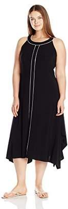 Rafaella Women's Plus Size Solid Knit Sharkbite Dress