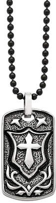 FINE JEWELRY Mens Stainless Steel Antiqued Cross Dog Tag Pendant