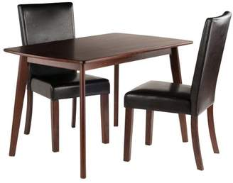 Winsome Wood Shaye 3-Piece Dining Table with Chairs Set, Walnut