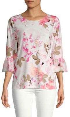 Calvin Klein Floral Bell-Sleeve Top