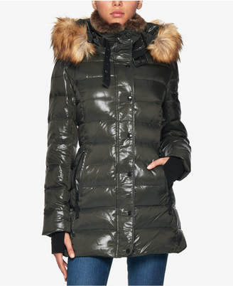 S13 Chelsea Faux-Fur-Trim Hooded Down Puffer Coat
