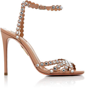 Aquazzura Tequila Embellished Leather Sandals