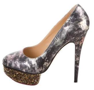 Charlotte Olympia Printed Round-Toe Pumps