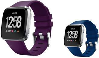 Fitbit Versa Bands Small by Zodaca 2-PACK (Purple + Dark Blue) Replacement Bands SMALL Size Adjustable Wrist Band Soft Rubber Silicone Clasp Buckle For Versa Smartwatch - Purple + Dark Blue