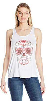 Clementine Women's Ladies' with Floral Skull Printed Flowy Racerback Tank