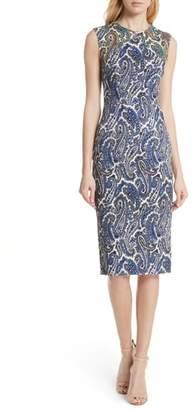 Diane von Furstenberg Mixed Paisley Sheath Dress