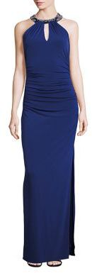 Laundry by Shelli Segal Embellished Neck Front-Keyhole Gown $295 thestylecure.com