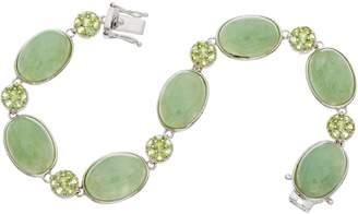 Oval Jade & Pave' Peridot Sterling Tennis Bracelet