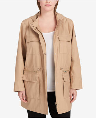 DKNY Plus Size Cinched-Waist Raincoat